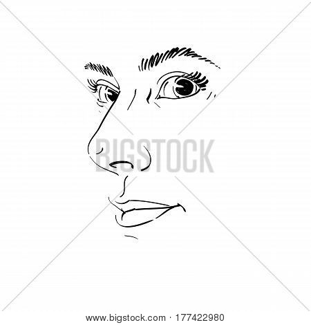 Vector drawing of pensive woman thinking about something. Black and white portrait of attractive still lady visage features.
