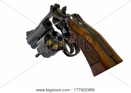 38 Caliber Revolver Pistol Loaded Cylinder Gun Barrel Close Up with clipping path