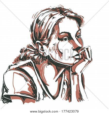 Artistic hand-drawn vector image portrait of delicate melancholic peaceful girl. Emotions theme illustration. Cute girl thinking about something.