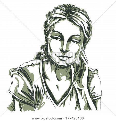 Vector drawing of thinking woman with stylish haircut. Black and white portrait of attractive peaceful and calm lady model posing.