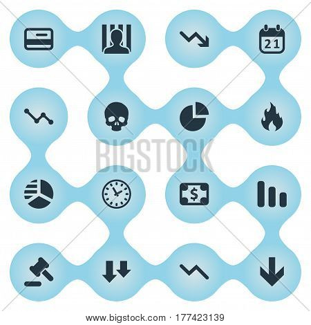 Vector Illustration Set Of Simple Situation Icons. Elements Bankroll, Head Bone, Downward And Other Synonyms Calendar, Head And Graph. poster
