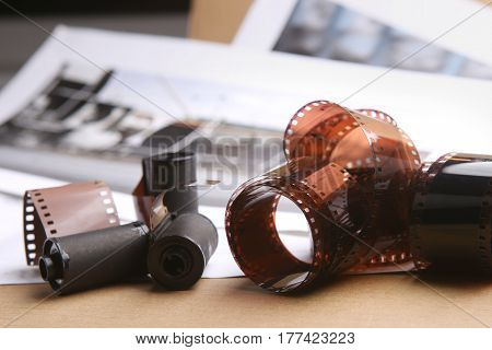 Photographic film rolls and cassettes. Analog photography.