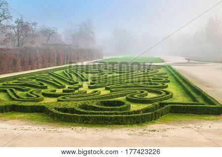 Beautiful park in front of Reggia di Colorno palace Colorno Emilia Romagna Italy.