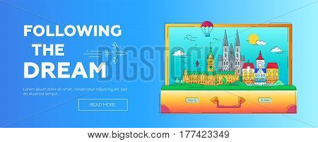 Following the Dream - modern vector line travel web page header illustration. Discover Netherlands and Germany. Wrld famous landmarks in a suitcase - cathedrals, palaces and museums