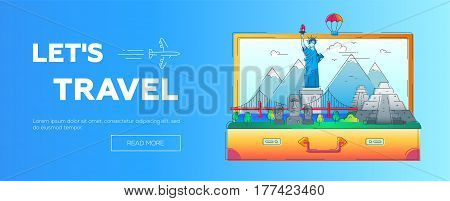 Lets Travel - modern vector line travel web page header illustration. Discover the New World continent. World famous landmarks in a suitcase - statue of liberty, brooklyn bridge, mayan temple