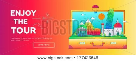 Enjoy the Tour - modern vector line travel web page header illustration. Discover Rome. Have a trip, enjoy your vacation. World famous landmarks like tower of pisa, coliseum, temple, cathedral, mountain