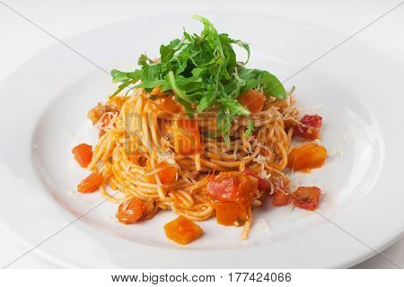 Pasta with pumpkin and arugula menu isolated on white background