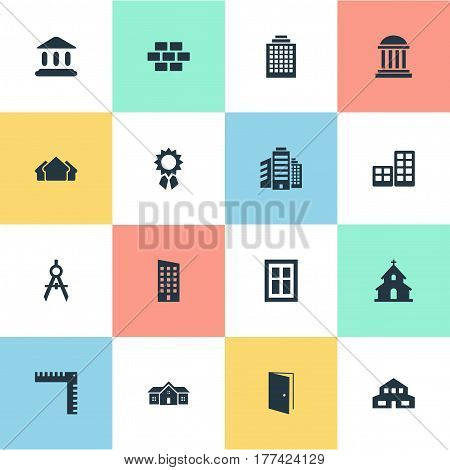 Vector Illustration Set Of Simple Structure Icons. Elements Gate, Residential, Stone And Other Synonyms Edifice, Door And Residential.