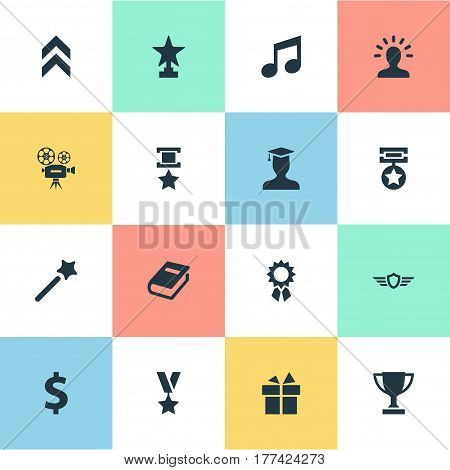 Vector Illustration Set Of Simple Achievement Icons. Elements Melody, Guard, Literature And Other Synonyms Achieve, Surprise And Up.