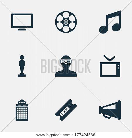 Vector Illustration Set Of Simple Cinema Icons. Elements Television, Megaphone, Filmstrip And Other Synonyms Megaphone, Movie And Television.