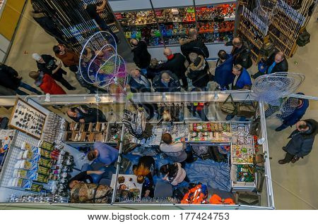 Moscow, Russia - February 25, 2017: Top view of the exhibition pavilion Hunting and fishing in Russia. Exhibits, participants and visitors of the fair.