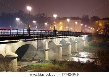 Night Bridge With Lampposts
