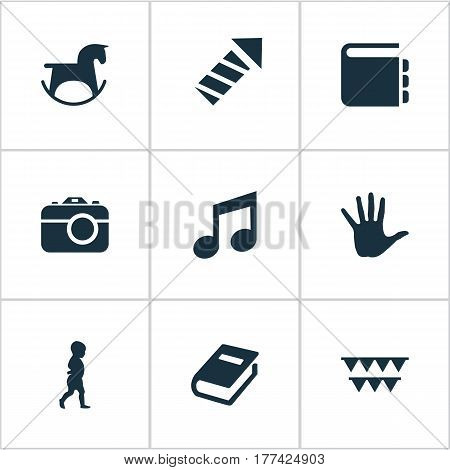 Vector Illustration Set Of Simple Infant Icons. Elements Sparkler, Palm, Melody And Other Synonyms Firework, Carnaval And Horse.