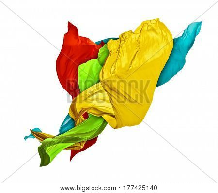Smooth elegant colored cloth separated on white background. Texture of flying fabric.