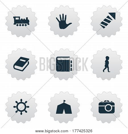 Vector Illustration Set Of Simple Infant Icons. Elements Start Walk, Tent, Camera And Other Synonyms Encyclopedia, Textbook And Book.