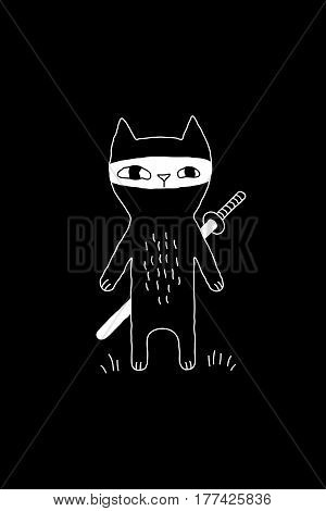 Cartoon cat drawing with ninja cat and a sword. Cute vector black and white cat drawing. Monochrome doodle cat drawing for prints, posters, t-shirts, covers, flyers and cards.