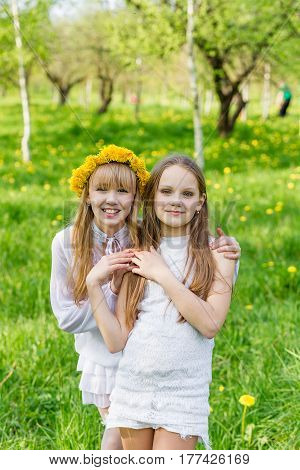 Girlfriends are standing with wreaths of dandelions on their heads in the open air
