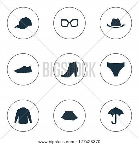 Vector Illustration Set Of Simple Garments Icons. Elements Underclothes, Sport Headwear, Swewatshirt And Other Synonyms Underpants, Protect And Sweatshirt.