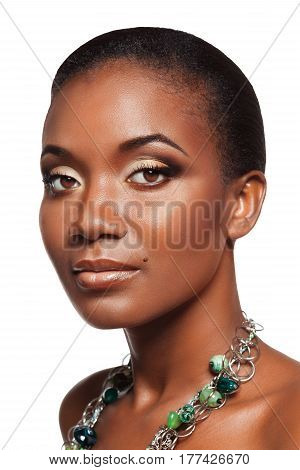 Beauty Portrait Of Handsome Young Black Woman With Beautiful Makeup, Isolated On White Background