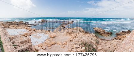 Ruins of a commercial port in the old town of Caesarea on the Mediterranean Sea in Israel.