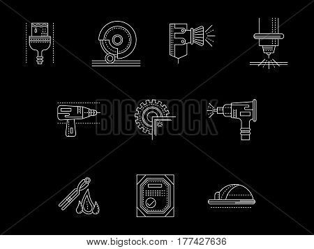 Industrial technology and equipment for metal processing and treatment. Sandblasting, work with grinding and saw machines, painting of surface. Set of flat white line design vector icons on black.