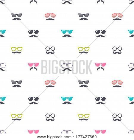 seamless pattern with colorful glasses and mustache