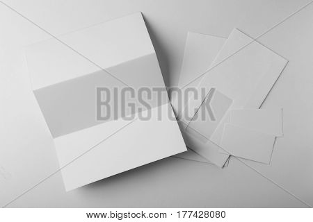 Set of blank items for branding on  white background