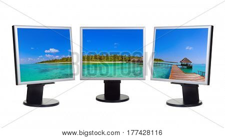 Maldives panorama in computer monitors - isolated on white background