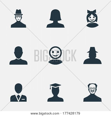 Vector Illustration Set Of Simple Member Icons. Elements Job Man, Woman User, Internet Profile And Other Synonyms Worker, Spy And Web.