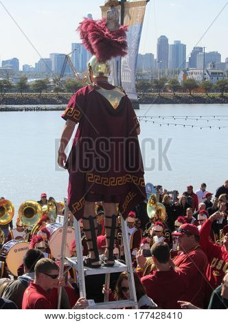 USC Southern Cal Marching Band being conducted by the Trojan Mascot at a Pier, Chicago the day prior to Notre Dame's homecoming game, October 21, 2011