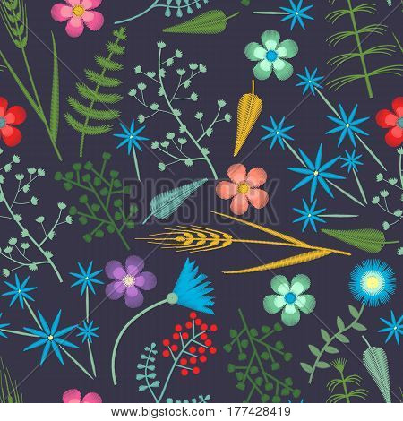 Embroidery seamless pattern with Forest plants and Field wildflowers. Vector illustrations