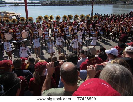 USC Song Leaders and the Marching Band performing at a Pier, Chicago the day prior to Notre Dame's homecoming game, October 21, 2011