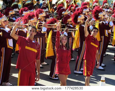 USC Cheerleaders and Trojan Marching Band performing at a Pier, Chicago the day prior to Notre Dame's homecoming game, October 21, 2011