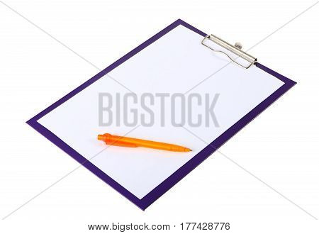 A piece of blank paper and orange pen on clipboard isolated on white