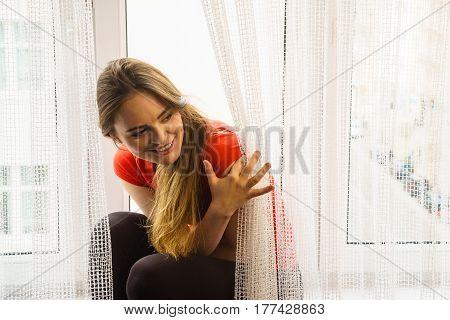 Happy Woman Sitting On Windowsill, Energizing Morning