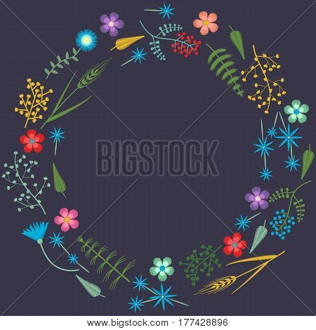 Embroidery frame pattern with Forest plants and Field wildflowers. Vector illustrations