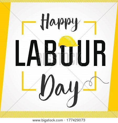 Happy Labour Day 1st may lettering with helmet vector background. Labour Day card. International Workers day illustration for greeting card