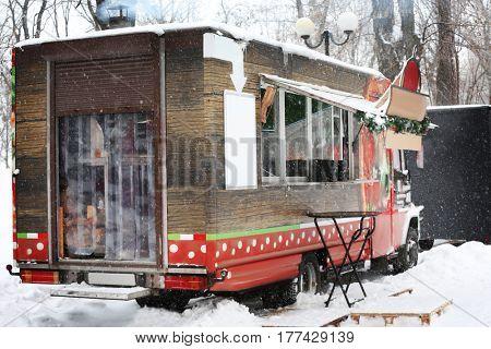 Street fast food on wheels in winter