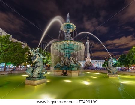 Rossio square with fountain in Lisbon Portugal - architecture background