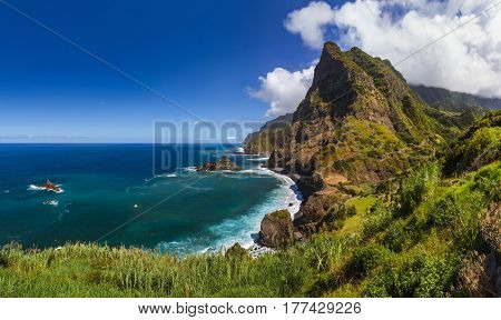 Coast near Boaventura in Madeira Portugal - travel background