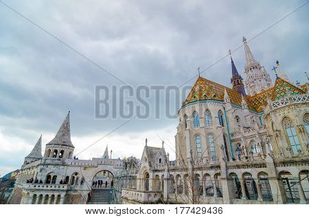 BUDAPEST, HUNGARY - FEBRUARY 20, 2016: Fisherman Bastion on the Buda Castle hill in Budapest, Hungary
