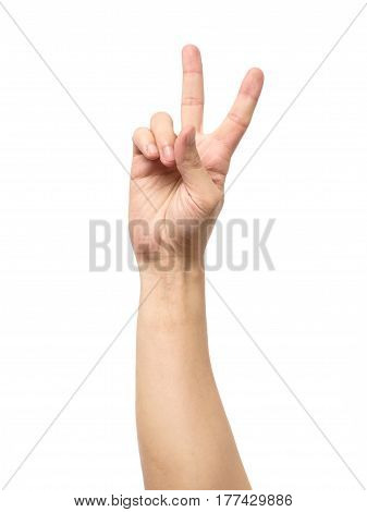 Man Hand Showing Victory Sign Isolated