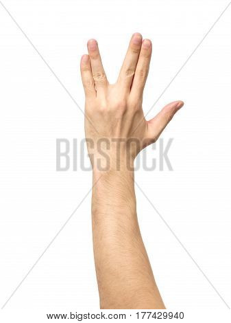 Male Hand Showing Vulcan Salute Isolated