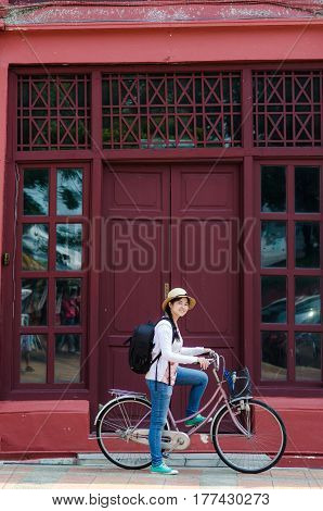 Tourist Women With Vintage Bicycle Travel Aroud Old City