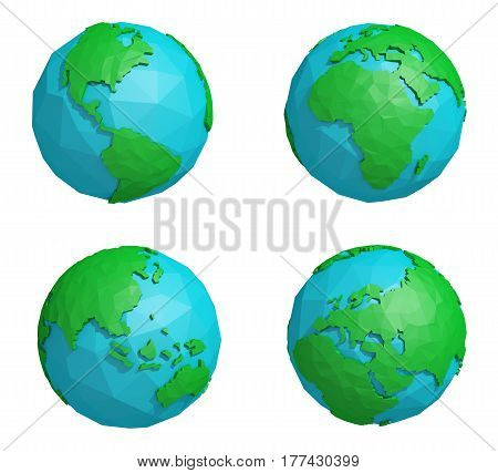 Set of low poly earth planet with four continents, polygonal globe icon, 3D rendering