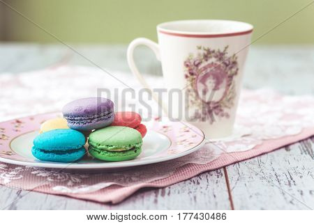 Multicolored Macaroons With Cofee