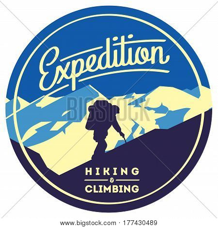 Extreme outdoor adventure badge. High mountains illustration. Climbing, trekking, hiking, mountaineering and other extreme activities logo template.
