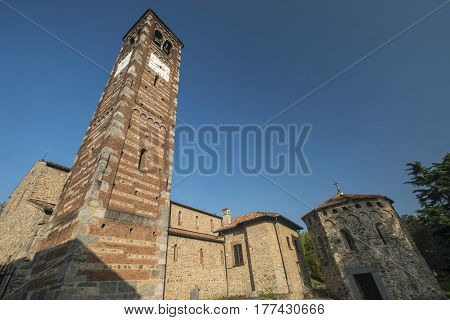 Agliate Brianza (Monza Lombardy Italy): exterior of the medieval church of Saints Peter and Paul built from the 11th century