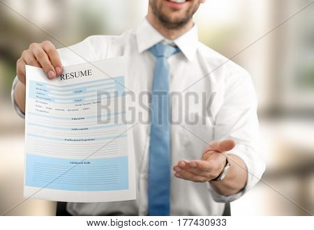 HR manager proposing fill in resume