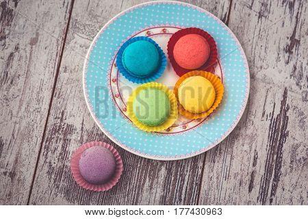 Macaroon Cookies On Blue Plate